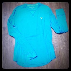 Turquoise American Eagle Long Sleeve Shirrt